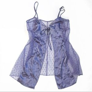 Victoria's Secret Lavender Sheer Dot Silk Nightie